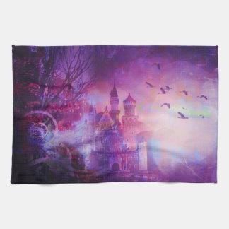 Pretty Purple Fairy Tale Fantasy Castle Kitchen Towel