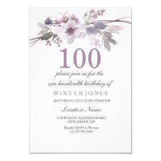 Pretty Purple Floral 100th Birthday Party Invite