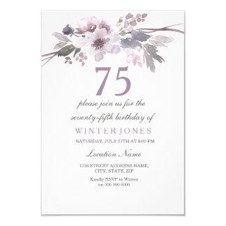 Pretty Purple Floral 75th Birthday Party Invite