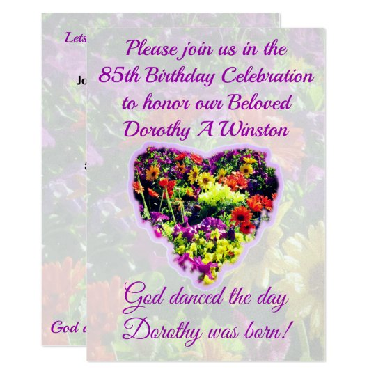 PRETTY PURPLE FLORAL 85TH BIRTHDAY INVITATION