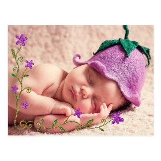 Pretty Purple Floral Birth Announcement Postcard