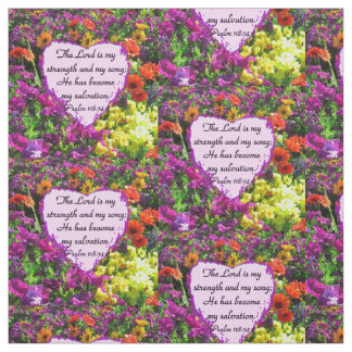 PRETTY PURPLE FLORAL PSALM 118:14 PHOTO FABRIC