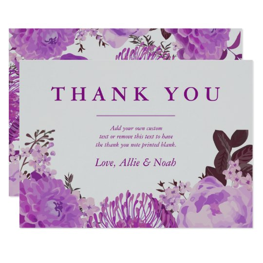 Pretty Purple Floral Thank You Card