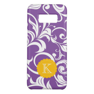 Pretty Purple Floral Wallpaper Swirl Monogram Case-Mate Samsung Galaxy S8 Case