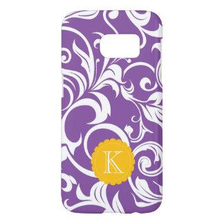 Pretty Purple Floral Wallpaper Swirl Monogram Samsung Galaxy S7 Case