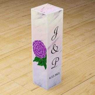 Pretty Purple Floral Watercolor Wedding Wine Box