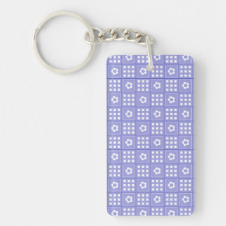 Pretty Purple Flower Patchwork Quilt Pattern Double-Sided Rectangular Acrylic Keychain