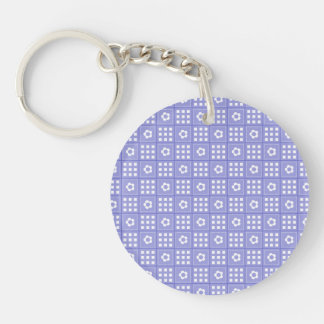 Pretty Purple Flower Patchwork Quilt Pattern Double-Sided Round Acrylic Keychain