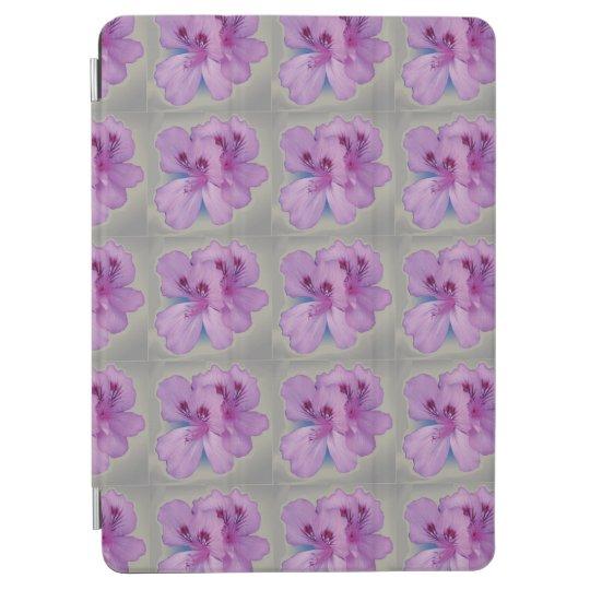Pretty Purple Flowers on Silver Grey iPad Air Cover