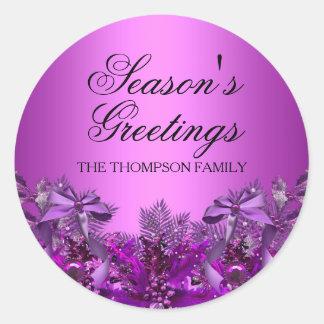 Pretty Purple Foliage & Bow Christmas Sticker
