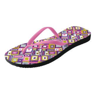 Pretty Purple Geometric Printed Flip Flops