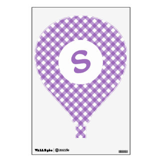 Pretty Purple Gingham Monogram Wall Sticker