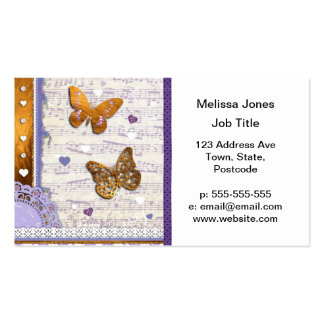 Pretty Purple & Gold butterflies & music collage Pack Of Standard Business Cards