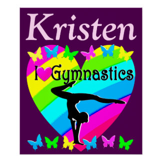 PRETTY PURPLE GYMNASTICS LOVE PERSONALIZED POSTER