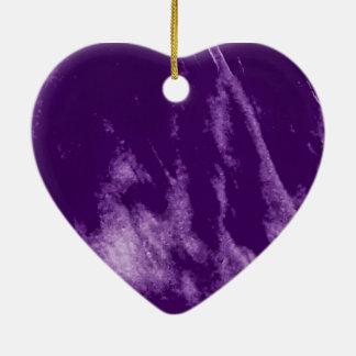 PRETTY PURPLE HEART ORN CERAMIC HEART ORNAMENT