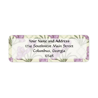 Pretty Purple Iris Flower Pattern Return Address Label