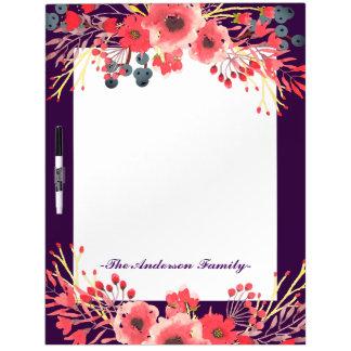 Pretty Purple Jewel Tone & Watercolor Flowers Dry Erase Board