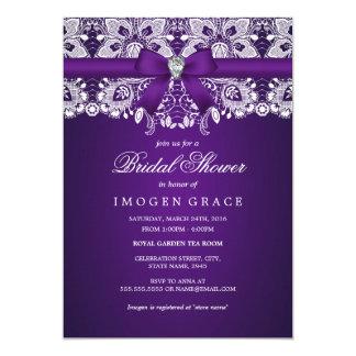 Pretty Purple Lace & Diamond Bow Bridal Shower Card