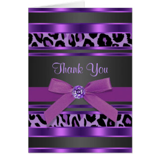 Pretty Purple Leopard Thank You Cards