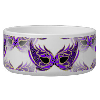 Pretty Purple Masquerade Masks Mardi Gras Dog Food Bowls