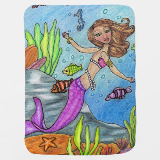 Pretty Purple Mermaid Swimming Fish Seaweed Rocks Baby Blanket