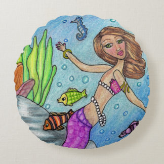 Pretty Purple Mermaid Swimming Fish Seaweed Rocks Round Pillow