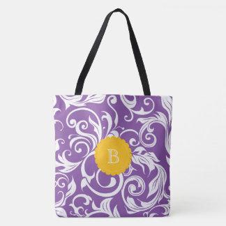 Pretty Purple Orange Floral Wallpaper Monogram Tote Bag