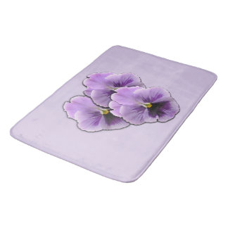 Pretty Purple Pansies Bath Mat