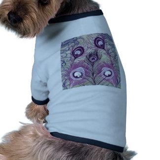 Pretty Purple Peacock Feathers Elegant Design Doggie Shirt