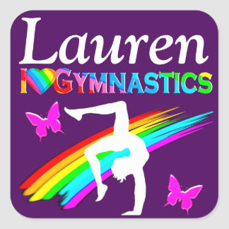 PRETTY PURPLE PERSONALIZED GYMNAST GIRL STICKER