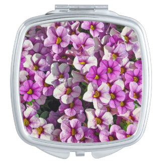 Pretty purple petunias mirror for makeup