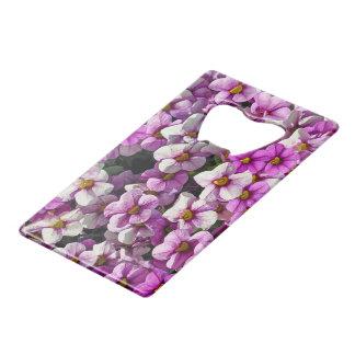 Pretty purple petunias wallet bottle opener