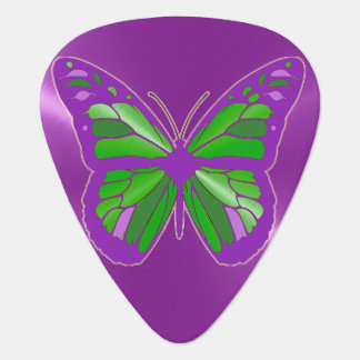 Pretty Purple Pink and Green Butterfly Guitar Pick