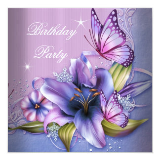 Pretty Purple Pink Butterfly Flowers Birthday Card