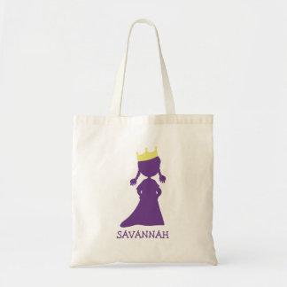 Pretty Purple Princess Silhouette Little Girls Tote Bag