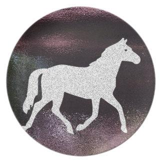 Pretty Purple Shimmering Metallic Horse Dinner Plates