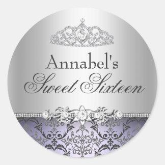 Pretty Purple Silver Damask Sweet 16 Sticker