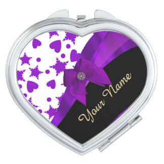Pretty purple spotty girly pattern personalized makeup mirror