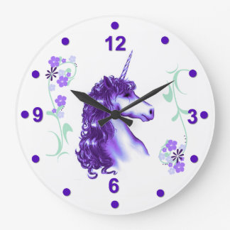 Pretty Purple Unicorn Wall Clock