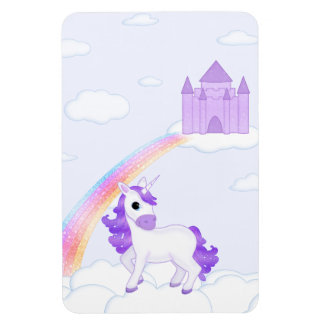 Pretty Purple Unicorn with a Castle in the Clouds Magnet