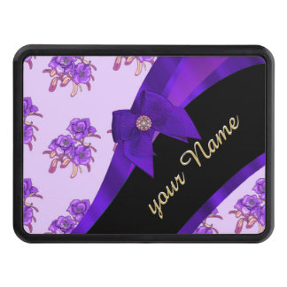 Pretty purple vintage floral flower pattern trailer hitch cover