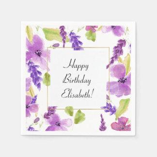 Pretty Purple Watercolor Floral Paper Napkin
