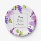 Pretty Purple Watercolor Floral Paper Plate