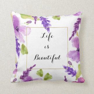 Pretty Purple Watercolor Floral Throw Pillow