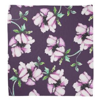 Pretty Purple Watercolor Flowers Bandana