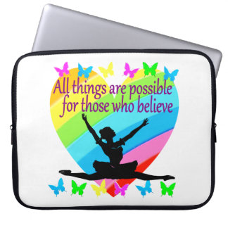 PRETTY RAINBOW ALL THINGS ARE POSSIBLE BALLERINA LAPTOP SLEEVES