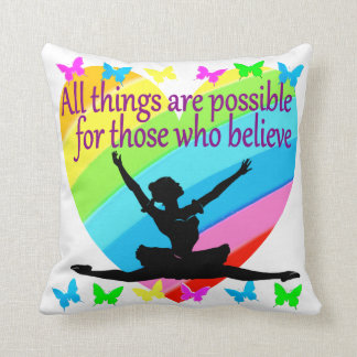 PRETTY RAINBOW ALL THINGS ARE POSSIBLE BALLERINA THROW PILLOW