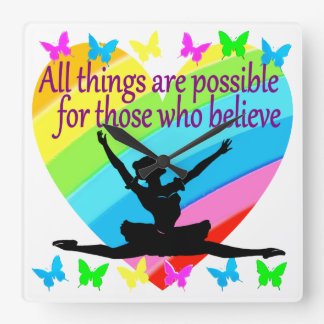 PRETTY RAINBOW ALL THINGS ARE POSSIBLE BALLERINA WALL CLOCKS