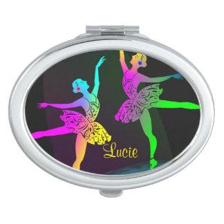 Pretty Rainbow Ballet Dancers Travel Mirror