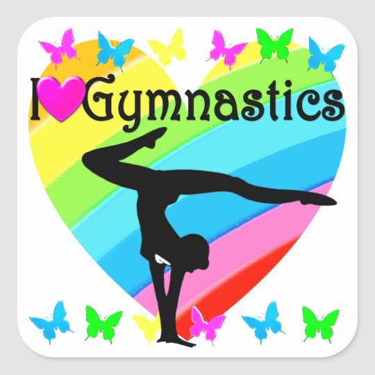 PRETTY RAINBOW I LOVE GYMNASTICS STICKERS